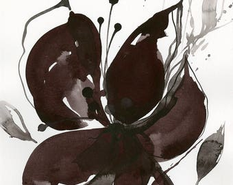 "Abstract Flower Painting, ink Warm Gray, black floral art, plant, poppy, blooms, ""Organic Impressions 311"" Kathy Morton Stanion EBSQ"