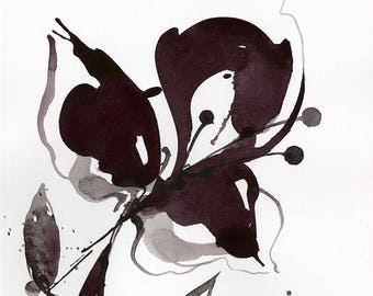 "Abstract Flower Painting, ink Warm Gray, black floral art, plant, poppy, blooms, ""Organic Impressions 313"" Kathy Morton Stanion EBSQ"