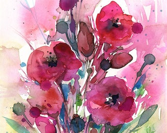 "Abstract Flower Painting, poppy, poppies pink, red floral art, plant, poppy, blooms, ""Floral Dreams No. 8"" by Kathy Morton Stanion EBSQ"