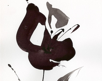 "Abstract Flower Painting, ink Warm Gray, black floral art, plant, poppy, blooms, ""Organic Impressions 312"" Kathy Morton Stanion EBSQ"