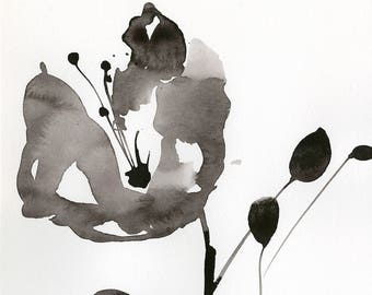 "Abstract Flower Painting, ink Warm Gray, black floral art, plant, poppy, blooms, ""Organic Impressions 323"" Kathy Morton Stanion EBSQ"