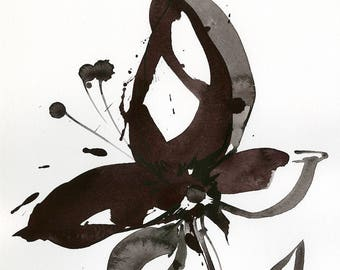 "Abstract Flower Painting, ink Warm Gray, black floral art, plant, poppy, blooms, ""Organic Impressions 307"" Kathy Morton Stanion EBSQ"