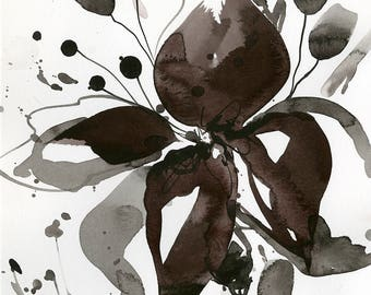 "Abstract Flower Painting, ink Warm Gray, black floral art, plant, poppy, blooms, ""Organic Impressions 319"" Kathy Morton Stanion EBSQ"