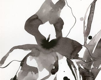 "Abstract Flower Painting, ink Warm Gray, black floral art, plant, poppy, blooms, ""Organic Impressions 324"" Kathy Morton Stanion EBSQ"
