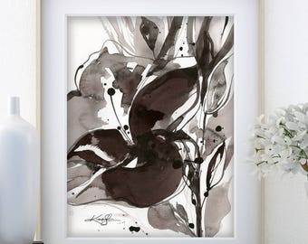 "Abstract Flower Painting, ink Warm Gray, black floral art, plant, poppy, blooms, ""Organic Impressions 317"" Kathy Morton Stanion EBSQ"