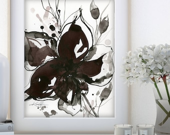 "Abstract Flower Painting, ink Warm Gray, black floral art, plant, poppy, blooms, ""Organic Impressions 318"" Kathy Morton Stanion EBSQ"