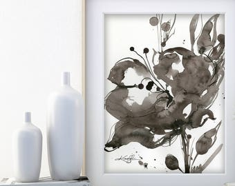 "Abstract Flower Painting, ink Warm Gray, black floral art, plant, poppy, blooms, ""Organic Impressions 320"" Kathy Morton Stanion EBSQ"