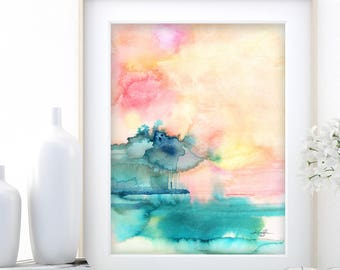 "Abstract Watercolor Painting, soft, Serene, Peaceful, Tranquil, Original art ""Ethereal Travels 4"" Kathy Morton Stanion EBSQ"