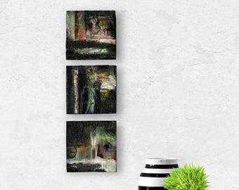 Set of 3 Abstract Black, Grays, Mixed Media art paintings on reclaimed wood, Pieces Of Beautiful Set 103-105 by Kathy Morton Stanion EBSQ