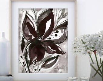 "Abstract Flower Painting, ink Warm Gray, black floral art, plant, poppy, blooms, ""Organic Impressions 316"" Kathy Morton Stanion EBSQ"