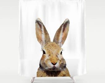 Bunny Rabbit Shower Curtain Rabbits Cute Bunnies Wild Life Realistic Animal Art By Kathy Morton Stanion EBSQ