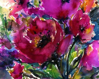 Pink flower painting etsy pink flower painting large watercolor art flowers large giclee print poppy poppies jubilation original kathy morton stanion ebsq mightylinksfo