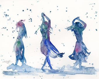 """Abstract Goddess Dance Watercolor painting, Original  art Spell, Dance, Wicca, Pagam, Witch, Spiritual """"Witch Dance"""" by Kathy Morton Stanion"""