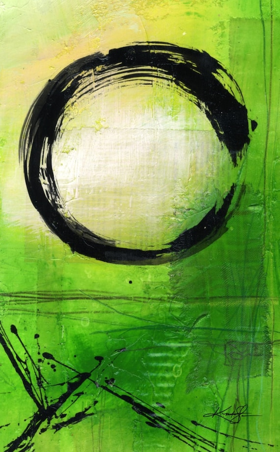 Original Enso Zen Painting Throw Pillows: Large Green Enso Painting. Abstract Canvas Art Giclee Art