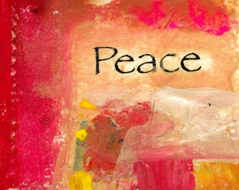 PEACE Original Collage on Stretched Canvas POSITIVE THOUGHTS SERIES