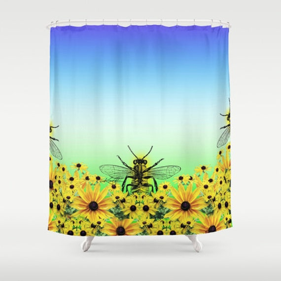 Bee Shower Curtain From Original Abstract Watercolor Art Painting By Kathy Morton Stanion EBSQ