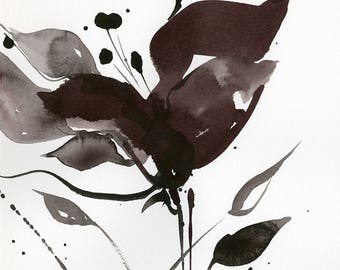 "Abstract Flower Painting, ink Warm Gray, black floral art, plant, poppy, blooms, ""Organic Impressions 310"" Kathy Morton Stanion EBSQ"