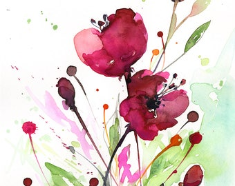 "Abstract Flower Painting, poppy, poppies pink, red floral art, plant, poppy, blooms, ""Floral Dreams No. 7"" by Kathy Morton Stanion EBSQ"