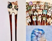 Hand painted cat face wooden hair stick hair fork - original acrylic painting of various cat colors - tuxedo, tabby, white, black, ginger