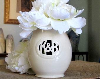 Small Monogram Ceramic Vase with Initials / Ampersand