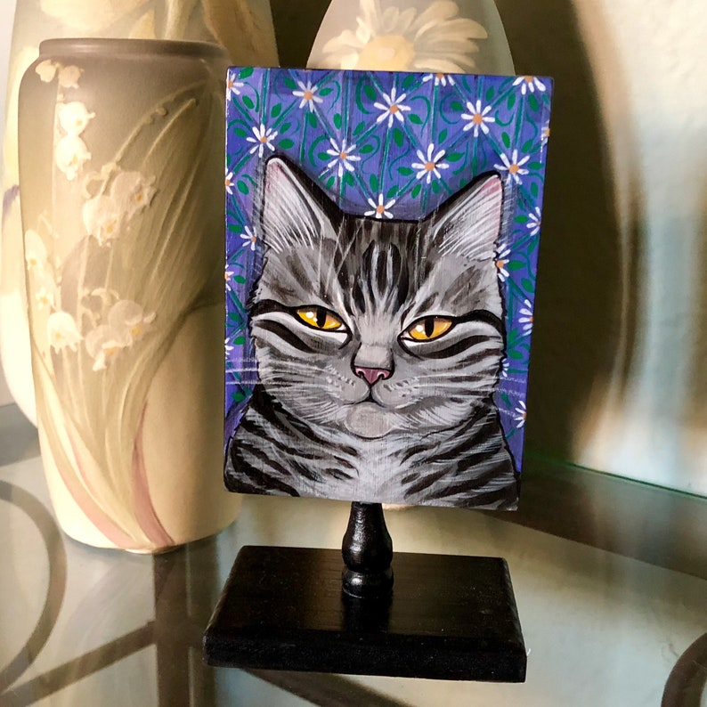 Original Cat Painting  Golden eyed grey tabby kitty cat with image 0