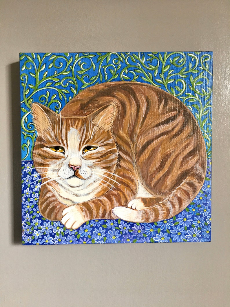 Original acrylic painting of a big dark ginger tabby cat image 0