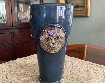 Gray Cat Vase with flower garland - gold luster eyes and midnight blue glaze