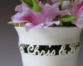 Personalized Wedding Gift - Handmade Ceramic Vase for Wedding, Anniversary or Engagement - 2 names and a date