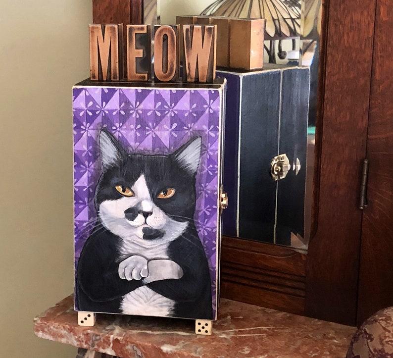 Standing Treasure Wood Box  Hand painted black & white cat image 0