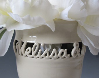 2 names Personalized Couple's Vase • Two Names Only - Wedding Vase • Anniversary Gift • Sweetheart Vase