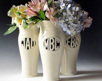 Personalized Anniversary Gift,  Mother of the Bride or Bridesmaid Gift - Handmade Monogram Vase - hand thrown, hand carved, monogrammed