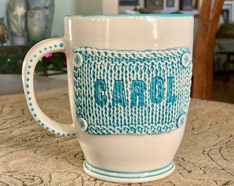 Personalized Knitter's Mug - Made to Order - Knitted Ceramic Square with Faux Buttons - Large mug available in different colors
