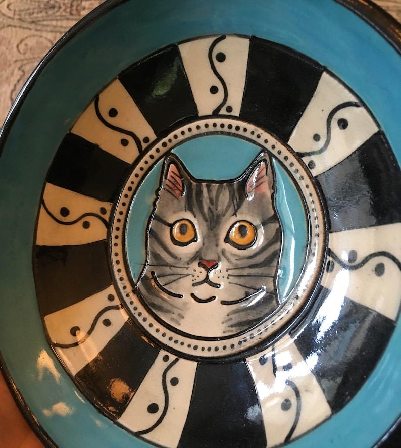 cat lady gift Ceramic Bowl Handmade Cat Ceramic Dish cat lover blue and black border Gray and black tabby cat portrait