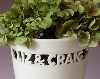 Custom Wedding Gift - Heirloom Vase with Names & Wedding Date / Anniversary - Handmade Ceramic Vase