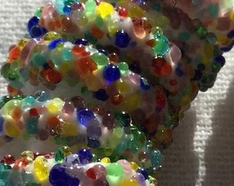 Rainbow Handmade Lampwork Glass Beads, Organic, 18mm, disk