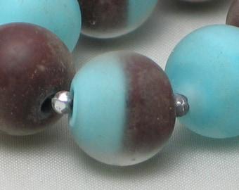Turquoise/Brown Handmade Lampwork Glass Bead set,  11mm, round