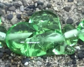 Light green Hearts Handmade Glass Lampwork Bead set, 25mm heart