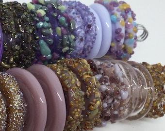 Purple 2 Handmade Lampwork Glass Beads, Organic, 18mm, disk