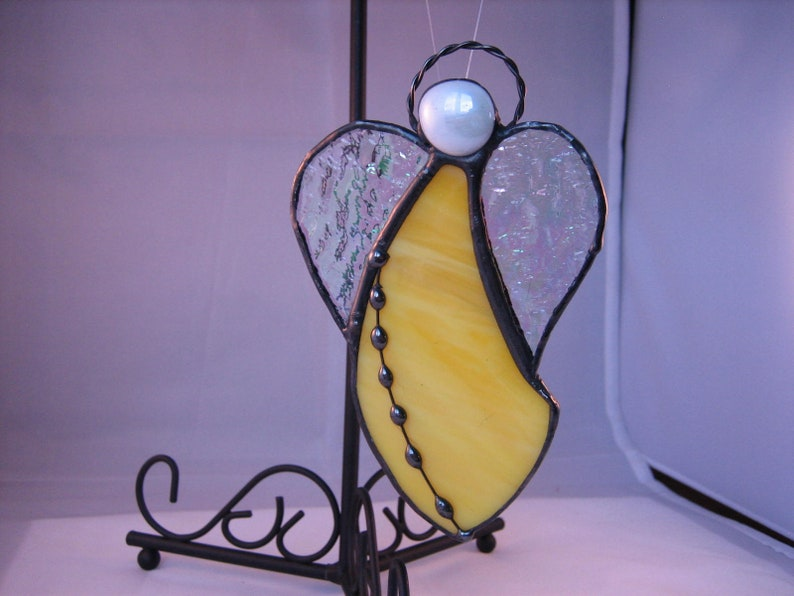 Angel Suncatcher Bright Yellow Stained Glass Angel Ornament