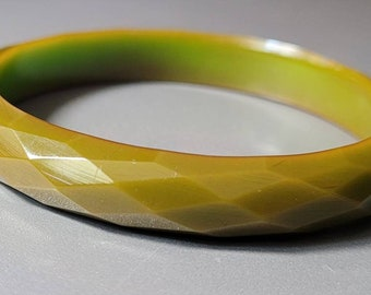 Authentic Vintage Bakelite Bangle- Faceted, Opaque, Mossy Green (Tested)