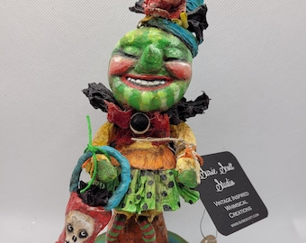 Whatamelon Witchy vintage-inspired spun cotton figure mounted on wooden base
