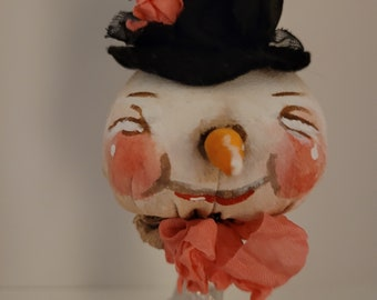 Paris Snowman vintage-inspired fabric & mixed media snowman