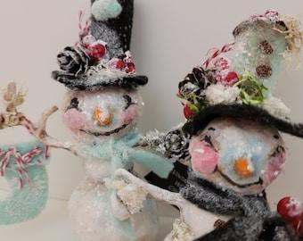 Snow Couple vintage-inspired Spun Cotton Christmas ornaments