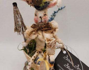 Bunny Swan Ride vintage-inspired mixed media spun cotton figure