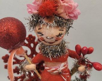 Christmas Sprite vintage-inspired spun cotton figure