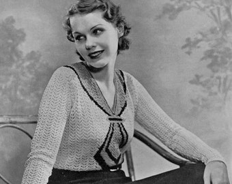 1930s Vintage Trompe L'oeil Blouse & Skirt Knitting Pattern - PDF eBook