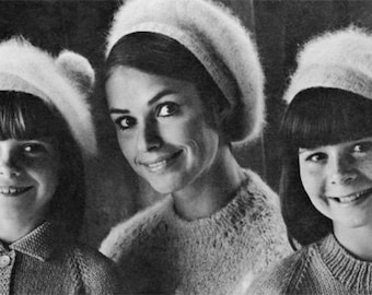 47a079ca28f Vintage Angora Tams - 1960s Hat Pattern - Vintage Knitting - PDF eBook
