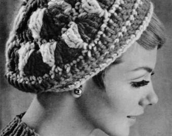 bf6d64d21af Vintage Crocheted Beret - 1960s Hat Pattern - Vintage Knitting - PDF eBook