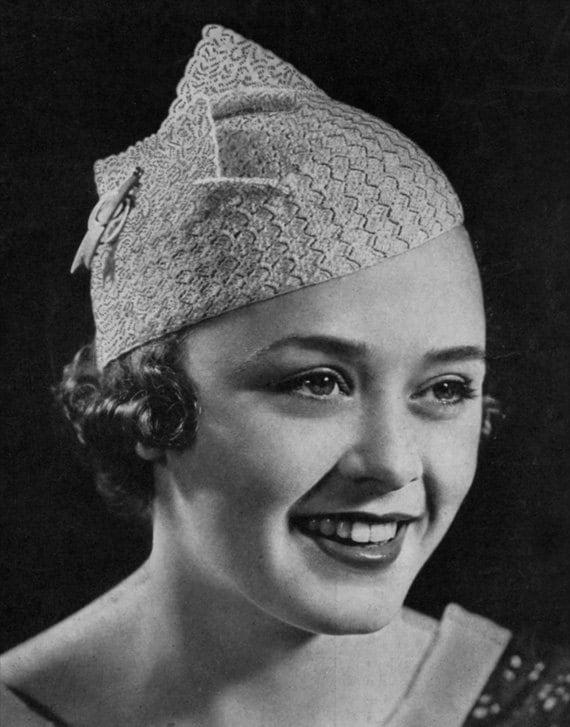 Geflügelte Barett Vintage 1930er Jahre häkeln Hut Muster   Etsy