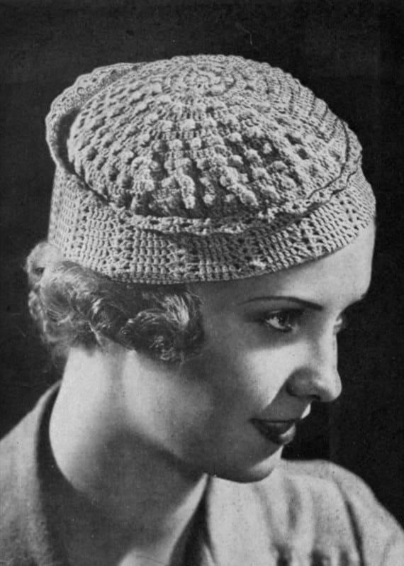 Haube Barett Hut Häkelanleitung Jahrgang 1930   Etsy